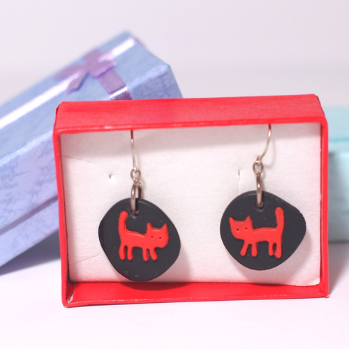 Black and Red Cat Earrings